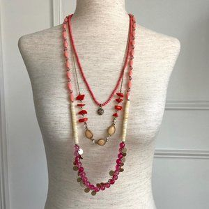 Lane Bryant 3 Strand Beaded Necklace Coral Pink